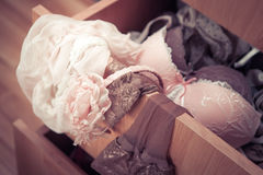 Sexy lingerie details in Viki's drawer Royalty Free Stock Photo