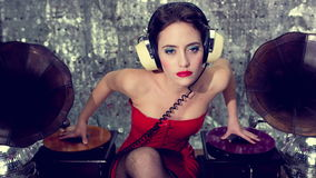 Sexy lingerie gramophone dj woman stock video
