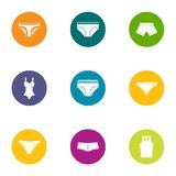 Sexy lingerie icons set, flat style. Sexy lingerie icons set. Flat set of 9 sexy lingerie vector icons for web isolated on white background Stock Photos