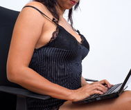 Sexy lingerie and laptop Royalty Free Stock Photos