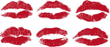 Sexy lip kisses in red Stock Images