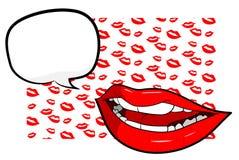Sexy Lippen mit Text Stockfoto