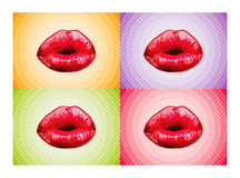 Sexy lips. Lips on 4 different color background Stock Photo