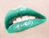 Sexy lips. Sexy woman green lips with colour make up and gloss Stock Images