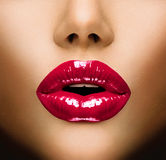 Sexy Lips. Beautiful Make-up Closeup. Kiss Stock Photo