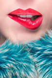 Sexy Lips. Beauty Red Lip Makeup Detail. Royalty Free Stock Photos