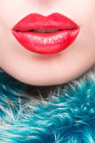 Sexy Lips. Beauty Red Lip Makeup Detail. Stock Photo