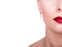 Sexy Lips. Beauty Red Lip Makeup Detail. Beauty Model Woman's Face close-up. half of the face and space for notes Stock Photos