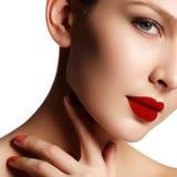 Sexy lips. Beauty red lips makeup detail. Beautiful make-up clos Stock Image