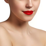 Sexy Lips. Beauty red lips makeup detail. Beautiful make-up clos Stock Images