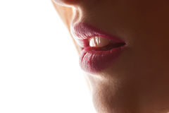 Sexy Lips. Beauty Red Lips Makeup Detail. Beautiful Make-up Closeup. Sensual Open Mouth. lipstick or Lipgloss Stock Images