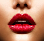 Sexy Lips. Beauty Red Lips Makeup Stock Photography