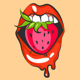 Lips with sweet strawberry. Pop art mouth biting pink berry. Close up view of cartoon mouth. Vector illustration.  stock illustration