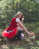 Sexy little red riding hood. In the forest Stock Photo