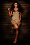 Sexy long brown hair fashion woman. Sexy long brown hair fashion model woman in tan short dress Royalty Free Stock Image