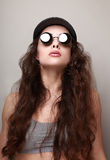 Sexy long hair woman in fashion sun glasses Royalty Free Stock Photo