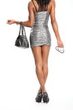 long legs of fashion model in short dress Royalty Free Stock Photography