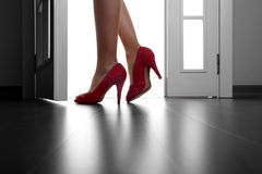 Sexy Long Legs On High Heels And Red Shoes Royalty Free Stock Image