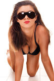 Sexy look with sunglasses Stock Photos