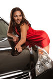 Looking Young Asian Female Standing by the Car Royalty Free Stock Photo