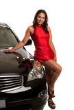 Sexy Looking Young Asian Female Standing by the Car Royalty Free Stock Photos