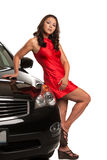 Sexy Looking Young Asian Female Standing by the Car Stock Images