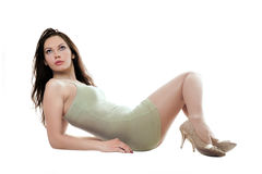 Sexy lying woman in short dress Stock Photo
