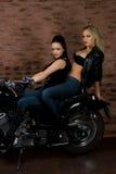 Sexy Mädchen auf Motorrad Stockfoto