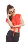 Sexy Mädchen in den Sonderlingsgläsern Lizenzfreie Stockfotos