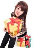 Sexy Mädchen mit vielen Geschenken Stockfotografie