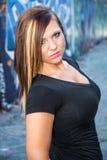 Sexy Mädchenmode-modell mit dem braunen Haar Stockfotografie