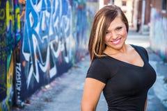 Sexy Mädchenmode-modell mit dem braunen Haar Lizenzfreies Stockbild