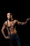 macho man with black suspenders Stock Image