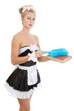 Sexy maid with duster. Young sexy maid with duster Royalty Free Stock Photos