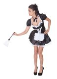 Sexy maid in skimpy uniform Stock Images