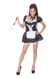 Sexy maid in skimpy uniform Stock Photography