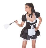 Sexy maid in skimpy uniform Royalty Free Stock Images