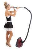Sexy maid with vacuum cleaner. Young sexy maid with vacuum cleaner Royalty Free Stock Photography