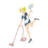Sexy maid with vacuum cleaner and dust wiper. Vector illustration of a sexy maid with vacuum cleaner and dust wiper Stock Image