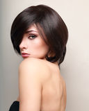 Sexy makeup female model with black short hair. Closeup portrait Royalty Free Stock Photos