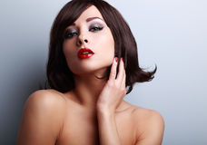 Sexy makeup model with short hair style and red lipstick Stock Image