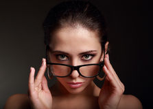 Sexy makeup woman in fashion glasses Royalty Free Stock Photos