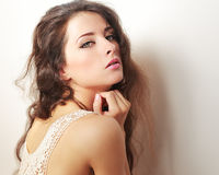 makeup woman with long hair royalty free stock photography