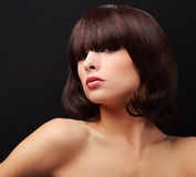Sexy makeup woman looking with brown short hair Stock Images
