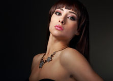 makeup woman in modern necklace Royalty Free Stock Image