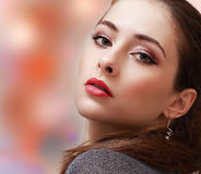 Sexy makeup woman with red lips on Royalty Free Stock Photos