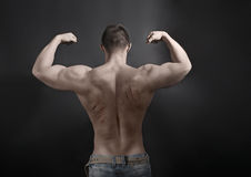 Sexy Male Body with Scratches from nails on his Back. Handsome M Stock Images