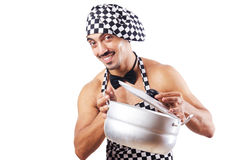 Sexy male cook isolated Stock Image