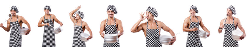 The sexy male cook isolated on the white Royalty Free Stock Photo