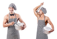 The sexy male cook isolated on the white Royalty Free Stock Photography